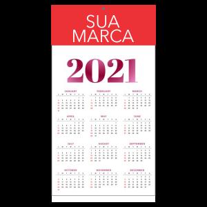 Calendário de Parede - Médio Papel Supremo 250g 21x30 cm 4x0 cores (só frente)  Corte Reto e Furo