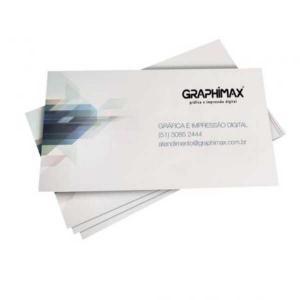 Cartão de Visita - Impressão Digital Couché fosco 300g 9x5 cm 4x0 Frente; 4x4 Frente e Verso  Corte Reto