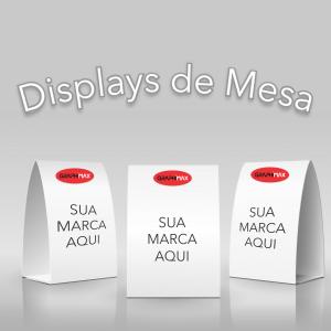 Display de Mesa 15x21 cm Papel Supremo 250g 15x21 cm fechado 4x0 cores (só frente) Laminação Fosca ou Brilho Corte reto, Vinco, Dobras e Fechamento