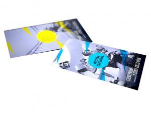 Folder A4 com Dobra Papel Couché fosco 170g 29,7x21 cm aberto - 14,8x21 cm fechado 4x4 cores (frente e verso)  Corte Reto, Vinco e Uma Dobra