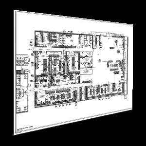 Planta Traços PB Papel Offset 75g  1x0 cor (preto e branco)  Corte reto e Dobra